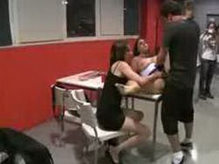 Bound babe gangbanged by girl and guy in public