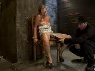 Bound blonde gagged and vibed in chair