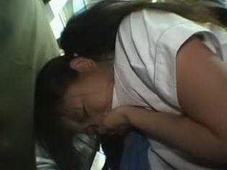Shy Schoolgirl gangbanged in a public train