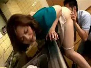 Japanese Housewife Gets Hard Fuck In The Kitchen