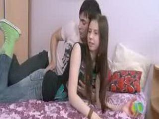 Incredible brunette teen fingers pussy and fucks