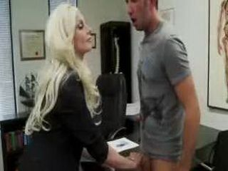 Hot Secretary Grabbed Clients Cock In Office
