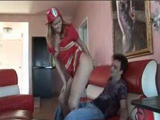 Hot Girl In Fireman Uniform Teasing Her Boyfriend