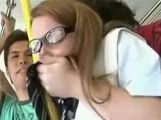 White teen groped and fucked in a japanese bus 3