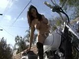 Veronica Rayne Puts Crystal Dildo In Pussy On Bike 3x