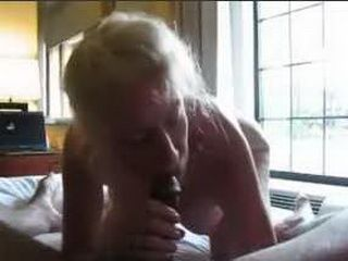 Blonde wife sucks black cock and gets fucked