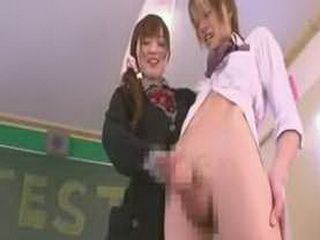 Japanese teen schoolgirl handjob while giving rimjob
