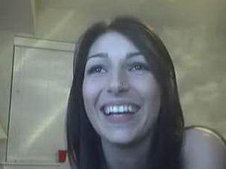 Super sweet brunette girl toying her pussy