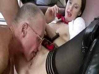 Mature schoolgirl slut gets a cumshot
