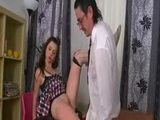 Old teacher does brunette teen student in knee high socks