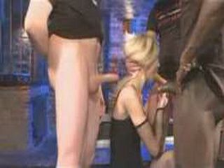 Blonde babe gives blowjobs and gets peeing on her face