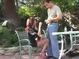 Redhead Mature Mom Likes To Be Fucked Outdoor On The Table! 3x