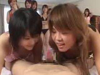 Crazy Japan CFNM POV blowjob tag team fellatio action