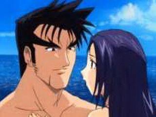 Anime babe sucks cock on the beach
