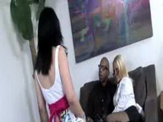 Hung black professor seduces big stacked MILF and young hot daughter