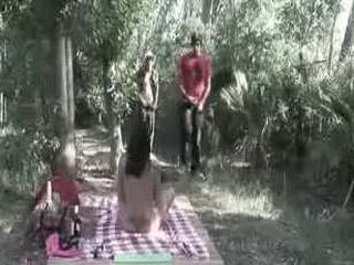 Outdoor shemale threesome