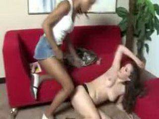 Wet white pussy is getting roughed up by evil black woman