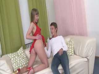 Skinny Blonde In Red Trashed Anal