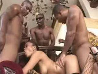 1 asian chick vs 3 black men