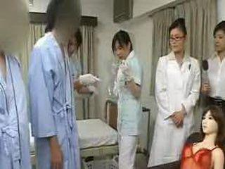 Bizarre Japan doctor handjob penis measuring research