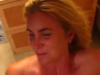 Wife gives blowjob and gets facialized