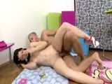 Brunette teen takes it anally in a sideways position