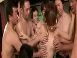 Kimono clad Japanese AV star commences final gangbang