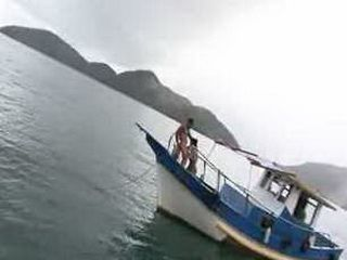 Latino girl fuck fisherman on the boat