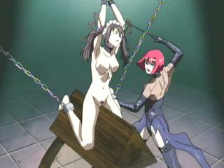 Chained hentai gets whipped and punishment