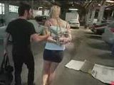 Bdsm blonde spanked and fucked in auto repair shop