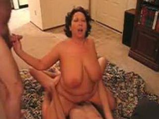Cuckolds bbw wife with large tits rides cock