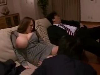 Huge Titted Japanese Wife Cheating Her  Sleeping Husband