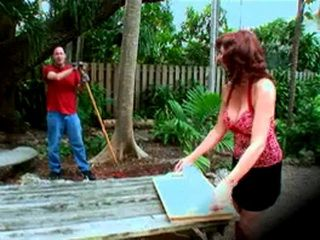 Mature Lady Seduce and Fucks Young Gardener