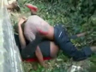 African Couple Taped In Hard Fuck Outdoor