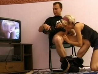 Amateur Blonde Fucking On Chair