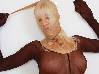 Slutty blonde distorted nylon mask face