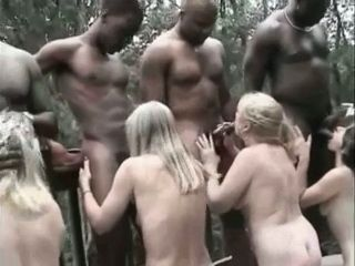 4 White Bitches Chewing 4 Black Cocks in a Mountain Shed