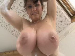 Taking A Foam Bath And Plays With Amazing Big Natural Tits