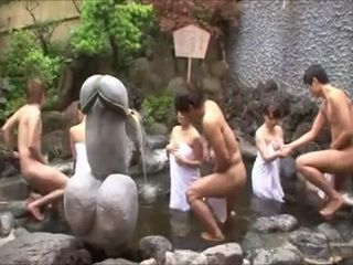 Mothers and Sons Spa Orgy Under Big Penis Totem
