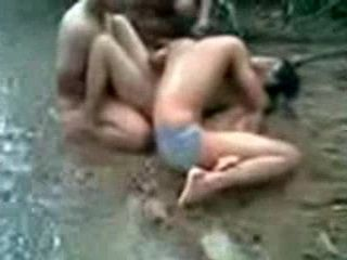 Asian Girl Fucked By bunch Of Guys By The River