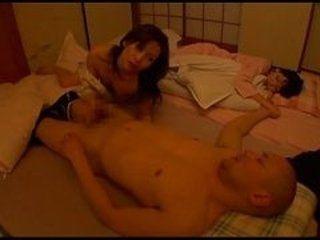 japanese milf wife fucks husband next to sleeping mother