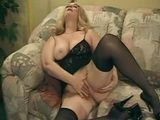 Mature Blonde Slut Gets Her Pussy Ready For Two Cocks