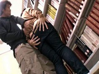Japanese Teen In Jeans Groped and Fucked At Library