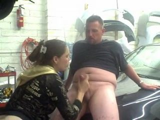 Amateur CFNM Blowjob and Handjob in the Garage and Messed Up Facial Cumshot