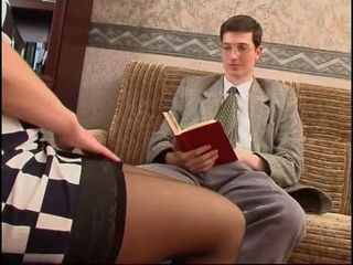 Milf Boss Corners Young Nerd Colleague at her Office