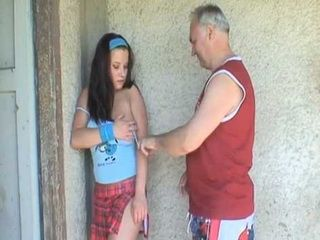 Old Grandpa Cornered Neighbors Teen Daughter And Fucked Her Hard