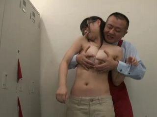 Busty Salesgirl Akane Yoshinaga Attacked Groped and Fucked in the Locker Room by her Old Boss