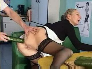 Boy With 2 Grannies Anal Big Cucumber Insertion and Assfuck In Kitchen