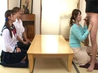 Mother Chisato Shoda and Father Sexual Education Class For Their Son and Daughter