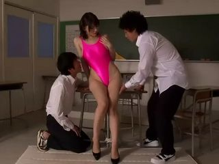 Hot Milf Teacher Anri Okita In Swimsuit Gets Fucked By 2 Students In the Classroom